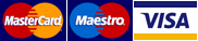 MasterCard, Maestro and Visa cards accepted