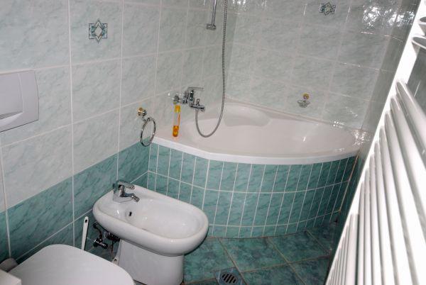 Corner bath in family bathroom